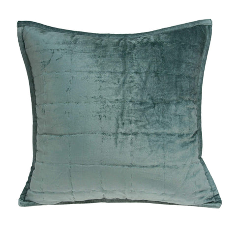 ArtFuzz 20 inch X 7 inch X 20 inch Transitional Sea Foam Solid Quilted Pillow Cover with Down Insert
