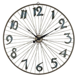 "Lone Elm Studios 31.9"" D Bicycle Wheel Clock Home Decor, 32InL x 32InW x 4.5InH, Brown"