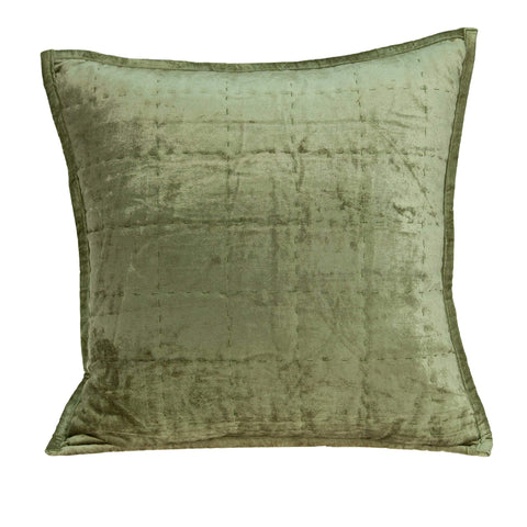 ArtFuzz 20 inch X 7 inch X 20 inch Transitional Olive Solid Quilted Pillow Cover with Poly Insert