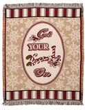 "Get Your Jingle On Christmas Tapestry Toss Blanket 50"" X 60"" Throw USA Made"