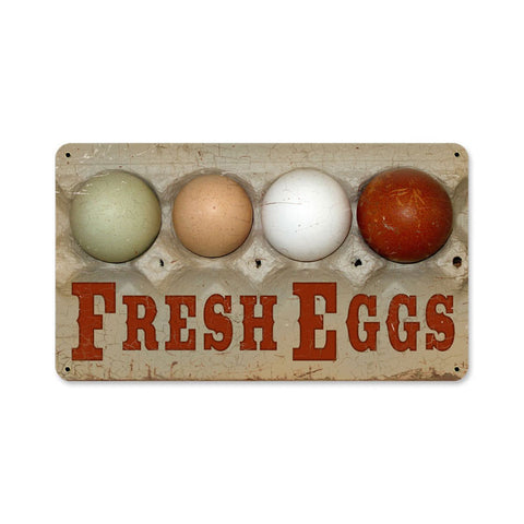Fresh Eggs Metal Sign Wall Decor 14 x 8