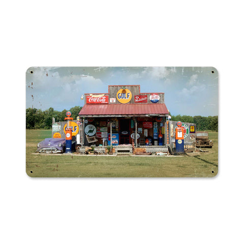 Gas Station Metal Sign Wall Decor 14 x 8