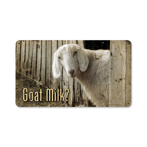 Goat Milk Metal Sign Wall Decor 14 x 8