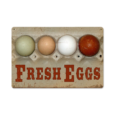 Fresh Eggs Metal Sign Wall Decor 18 x 12
