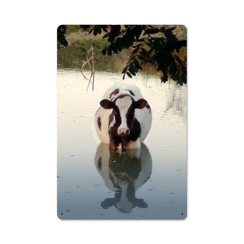 Cow in Water Metal Sign Wall Decor 18 x 12