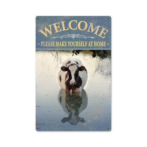 Welcome Cow Metal Sign Wall Decor 18 x 12