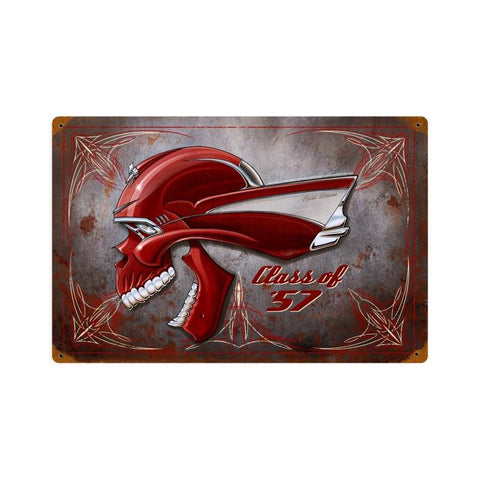 Chevy Skull Class Of 57 Metal Sign Wall Decor 18 x 12