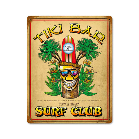 Tiki Bar Metal Sign Wall Decor 18 x 12