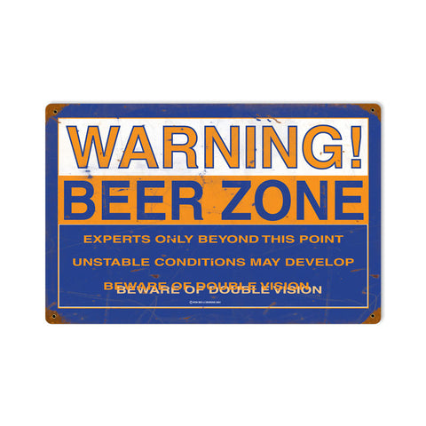 Beer Zone Metal Sign Wall Decor 18 x 12