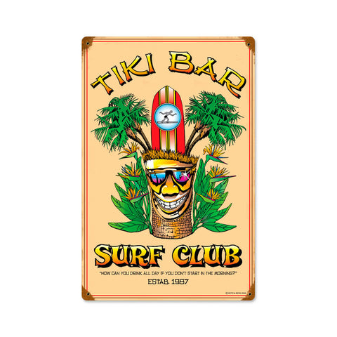 Tiki Bar Metal Sign Wall Decor 12 x 18