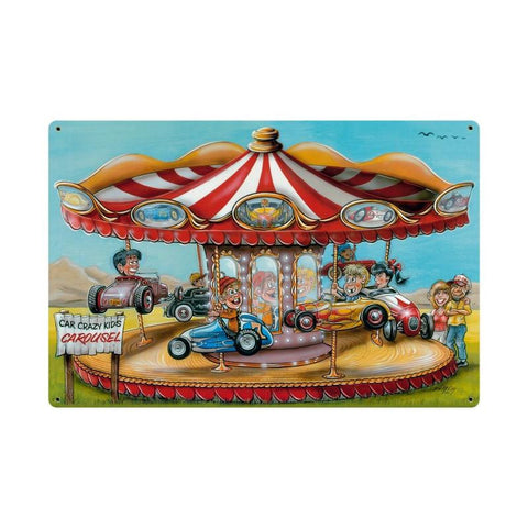 Crazy Kids Carousel Metal Sign Wall Decor 36 x 24