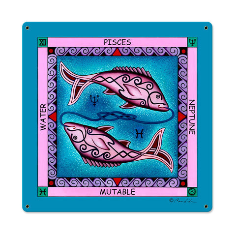 Pisces Metal Sign Wall Decor 18 x 18