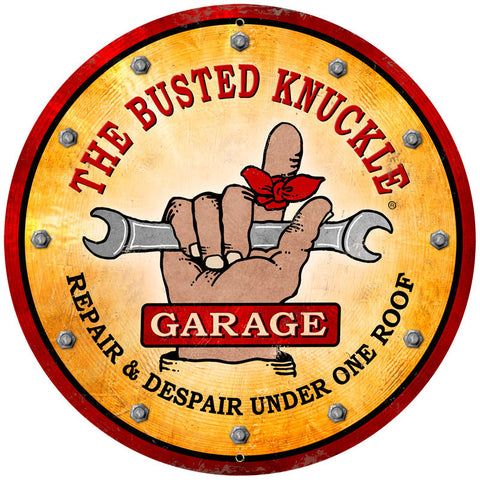 Busted Knuckle Garage Metal Sign Wall Decor 28 x 28
