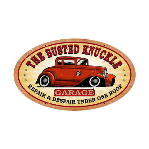 Busted Knuckle Garage Metal Sign Wall Decor 24 x 14