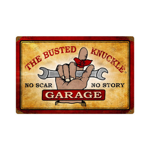Busted Knuckle Garage Metal Sign Wall Decor 18 x 12