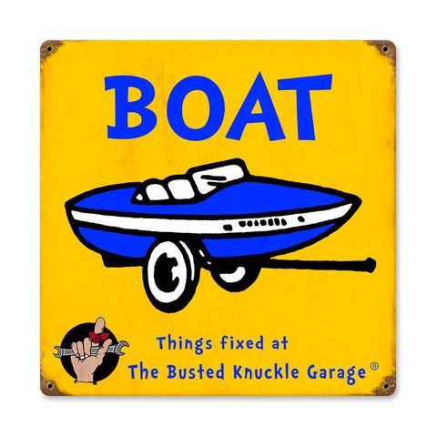 Kids Boat Metal Sign Wall Decor 12 x 12