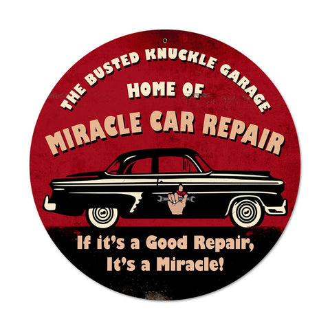 Miracle Car Repair Metal Sign Wall Decor 14 x 14
