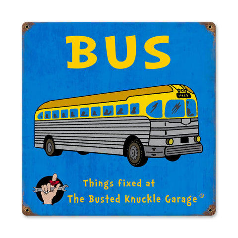 Kids Bus Metal Sign Wall Decor 12 x 12