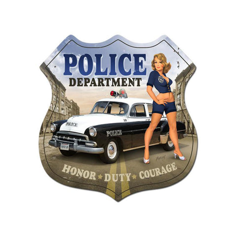 Police Department Metal Sign Wall Decor 15 x 15
