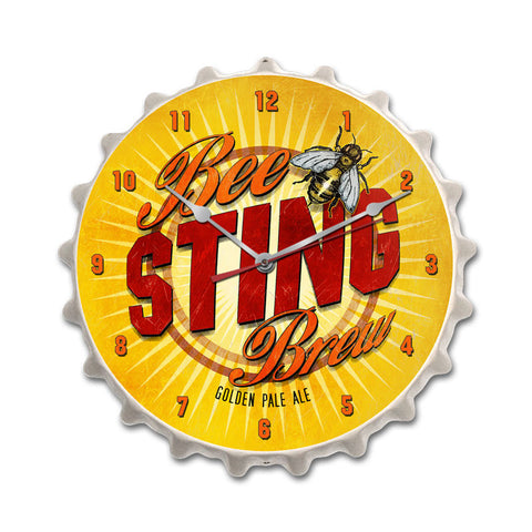BeeSting Brew Metal Sign Wall Decor 14 x 14