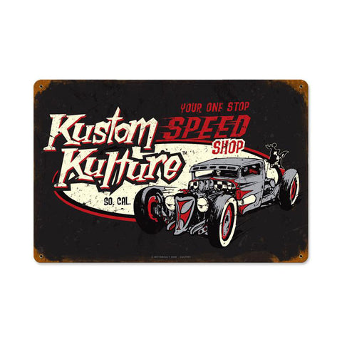 Kustom Kulture Metal Sign Wall Decor 18 x 12