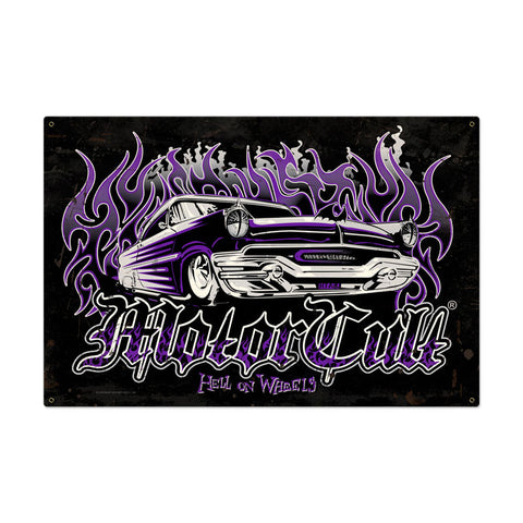 Hell on Wheels Metal Sign Wall Decor 36 x 24