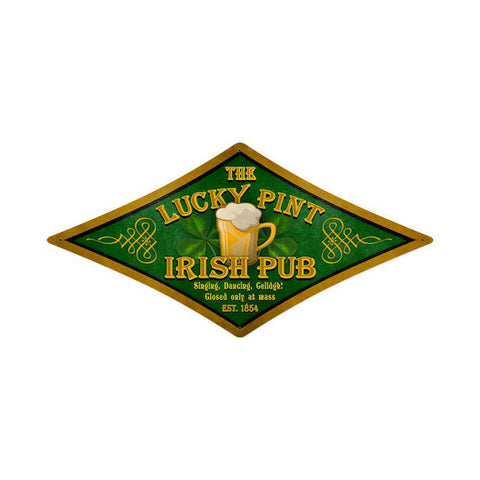Lucky Pint Metal Sign Wall Decor 24 x 12