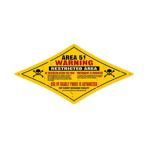 Area 51 Metal Sign Wall Decor 24 x 12