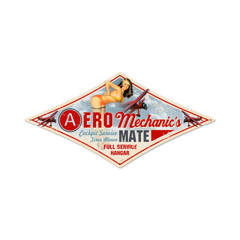 Aero Mechanic Metal Sign Wall Decor 14 x 24