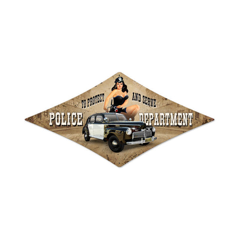 Police Department Metal Sign Wall Decor 14 x 24