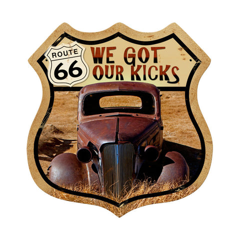 Route 66 Rusty Metal Sign Wall Decor 15 x 15