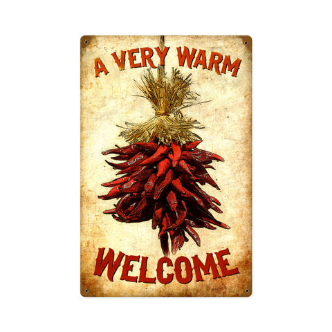 Welcome Chilies Metal Sign Wall Decor 12 x 18