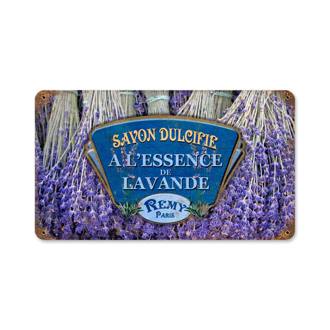 Lavender Metal Sign Wall Decor 14 x 8