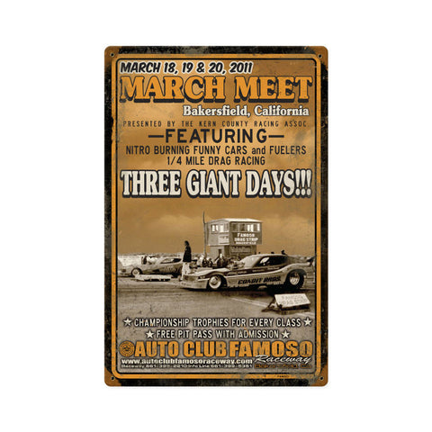 Bakers Field March Meet 2011 Metal Sign Wall Decor 12 x 18