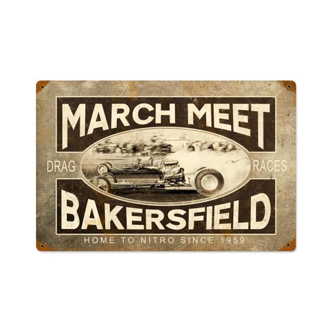 March Meet Vintage Metal Sign Wall Decor 18 x 12