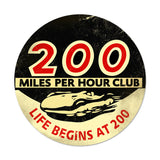 200 MPH Metal Sign Wall Decor 14 x 14