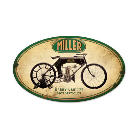 Miller Motorcycles Metal Sign Wall Decor 24 x 14