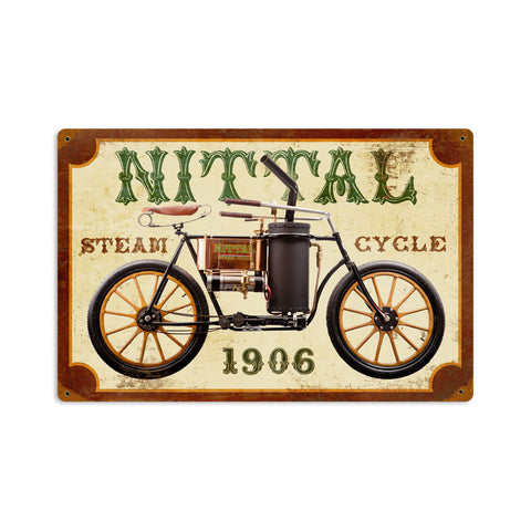 Nittal Steam Cycle Metal Sign Wall Decor 18 x 12