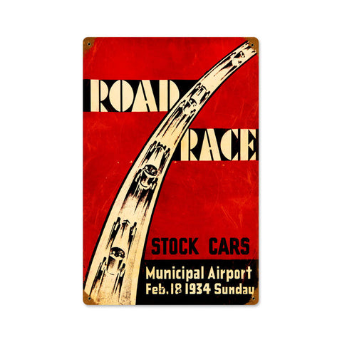 Road Race Metal Sign Wall Decor 12 x 18