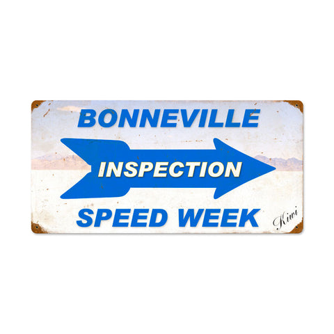Bonneville Inspection Speed Week Metal Sign Wall Decor 24 x 12