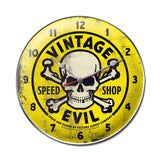 Vintage Evil yellow skull clock Metal Sign Wall Decor 14 x 14