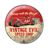 Vintage Evil racing devil clock Metal Sign Wall Decor 14 x 14