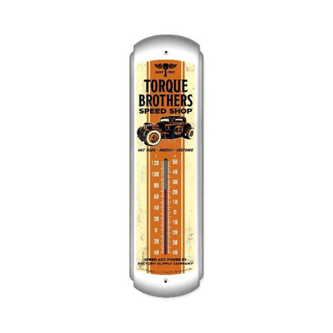 Torque Brothers 32 Coupe thermometer Metal Sign Wall Decor 5 x 17