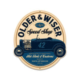 Older and Wiser Speed Shop vintage blue round 27  Metal Sign Wall Decor 24 x 27