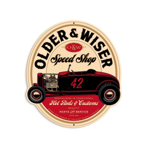 Older and Wiser Speed Shop vintage red round 15  Metal Sign Wall Decor 13 x 15