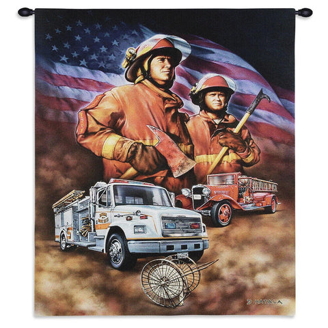 Firefighter Wall Tapestry With Rod