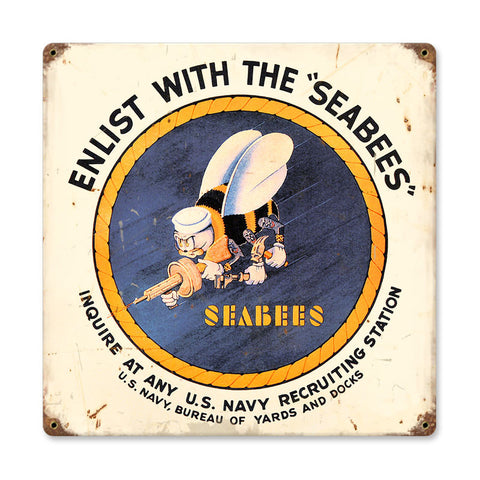 Seabees Metal Sign Wall Decor 12 x 12
