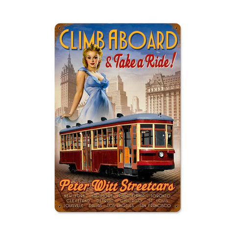 Street Car Pinup Metal Sign Wall Decor 18 x 12