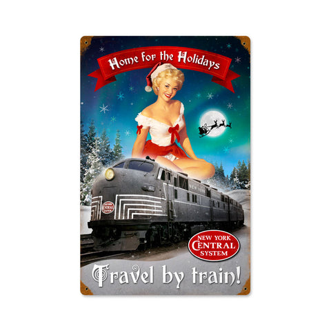Christmas Train Metal Sign Wall Decor 12 x 18