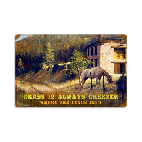 Greener Grass Metal Sign Wall Decor 18 x 12